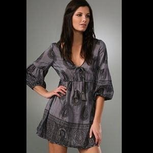 juicy couture p shirred empire paisley dress grey